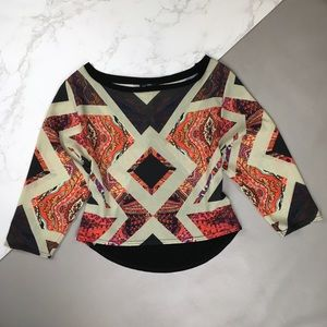 Zara Geometric Paisley Print Top